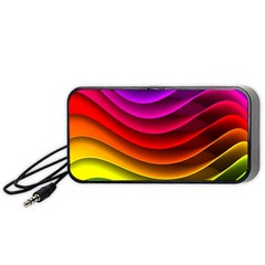 Spectrum Rainbow Background Surface Stripes Texture Waves Portable Speaker (black) by Simbadda