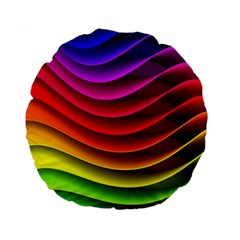 Spectrum Rainbow Background Surface Stripes Texture Waves Standard 15  Premium Round Cushions by Simbadda