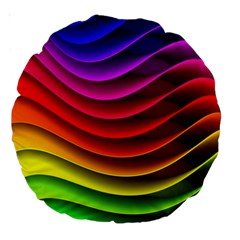 Spectrum Rainbow Background Surface Stripes Texture Waves Large 18  Premium Round Cushions by Simbadda