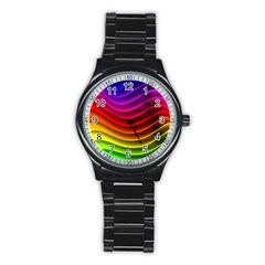 Spectrum Rainbow Background Surface Stripes Texture Waves Stainless Steel Round Watch by Simbadda