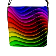 Spectrum Rainbow Background Surface Stripes Texture Waves Flap Messenger Bag (l)  by Simbadda