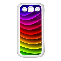 Spectrum Rainbow Background Surface Stripes Texture Waves Samsung Galaxy S3 Back Case (white) by Simbadda
