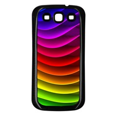 Spectrum Rainbow Background Surface Stripes Texture Waves Samsung Galaxy S3 Back Case (black) by Simbadda