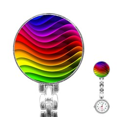 Spectrum Rainbow Background Surface Stripes Texture Waves Stainless Steel Nurses Watch by Simbadda