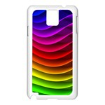 Spectrum Rainbow Background Surface Stripes Texture Waves Samsung Galaxy Note 3 N9005 Case (White) Front