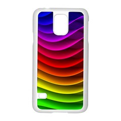 Spectrum Rainbow Background Surface Stripes Texture Waves Samsung Galaxy S5 Case (white) by Simbadda