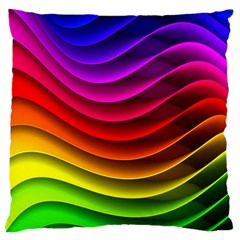 Spectrum Rainbow Background Surface Stripes Texture Waves Large Flano Cushion Case (one Side) by Simbadda
