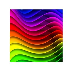 Spectrum Rainbow Background Surface Stripes Texture Waves Small Satin Scarf (square) by Simbadda
