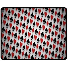 Suit Spades Hearts Clubs Diamonds Background Texture Double Sided Fleece Blanket (medium)  by Simbadda