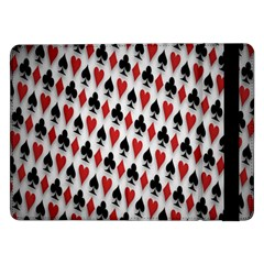 Suit Spades Hearts Clubs Diamonds Background Texture Samsung Galaxy Tab Pro 12 2  Flip Case by Simbadda