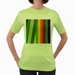 Texture Stripes Lines Color Bright Women s Green T Shirt