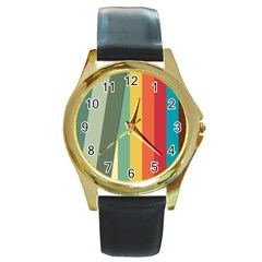 Texture Stripes Lines Color Bright Round Gold Metal Watch by Simbadda