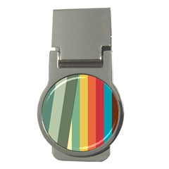 Texture Stripes Lines Color Bright Money Clips (round)