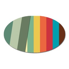Texture Stripes Lines Color Bright Oval Magnet by Simbadda