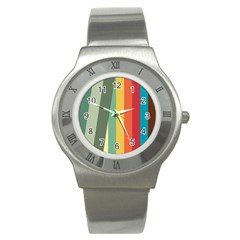 Texture Stripes Lines Color Bright Stainless Steel Watch by Simbadda