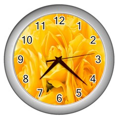 Yellow Neon Flowers Wall Clocks (silver)