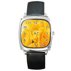 Yellow Neon Flowers Square Metal Watch