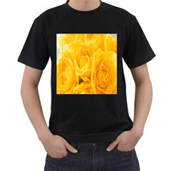 Yellow Neon Flowers Men s T-shirt (black) (two Sided) by Simbadda