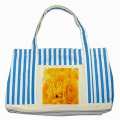 Yellow Neon Flowers Striped Blue Tote Bag by Simbadda