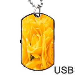 Yellow Neon Flowers Dog Tag Usb Flash (one Side) by Simbadda