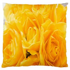 Yellow Neon Flowers Large Flano Cushion Case (two Sides) by Simbadda
