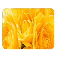 Yellow Neon Flowers Double Sided Flano Blanket (large)  by Simbadda