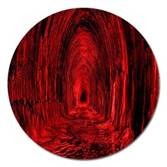 Tunnel Red Black Light Magnet 5  (round) by Simbadda