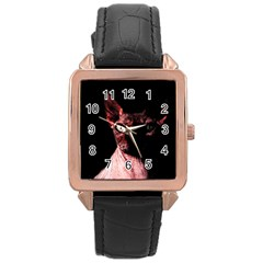 Sphynx Cat Rose Gold Leather Watch  by Valentinaart