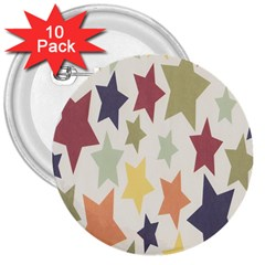 Star Colorful Surface 3  Buttons (10 Pack)