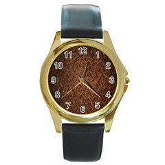 Texture Background Rust Surface Shape Round Gold Metal Watch by Simbadda