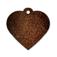 Texture Background Rust Surface Shape Dog Tag Heart (one Side) by Simbadda