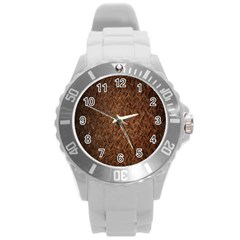 Texture Background Rust Surface Shape Round Plastic Sport Watch (l) by Simbadda