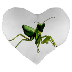 Mantis Large 19  Premium Heart Shape Cushions by Valentinaart