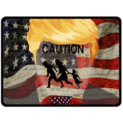 Caution Double Sided Fleece Blanket (large)  by Valentinaart