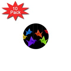 Paper Cranes 1  Mini Buttons (10 Pack)  by Valentinaart