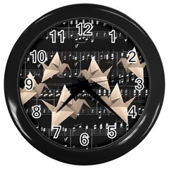 Paper Cranes Wall Clocks (black) by Valentinaart