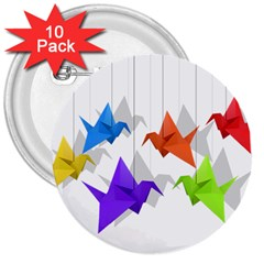 Paper Cranes 3  Buttons (10 Pack)  by Valentinaart