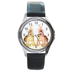Rabbits  Round Metal Watch by Valentinaart