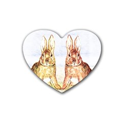 Rabbits  Rubber Coaster (heart)  by Valentinaart
