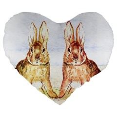 Rabbits  Large 19  Premium Heart Shape Cushions by Valentinaart