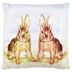 Rabbits  Large Flano Cushion Case (one Side) by Valentinaart