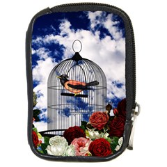 Vintage Bird In The Cage  Compact Camera Cases by Valentinaart