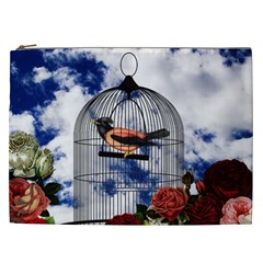 Vintage Bird In The Cage  Cosmetic Bag (xxl)  by Valentinaart