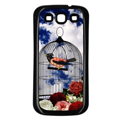Vintage Bird In The Cage  Samsung Galaxy S3 Back Case (black) by Valentinaart