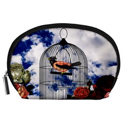 Vintage Bird In The Cage  Accessory Pouches (large)  by Valentinaart