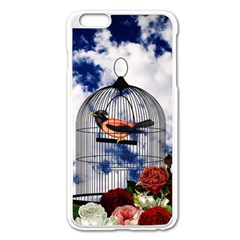Vintage Bird In The Cage  Apple Iphone 6 Plus/6s Plus Enamel White Case by Valentinaart