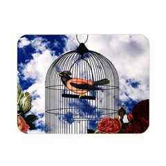 Vintage Bird In The Cage  Double Sided Flano Blanket (mini)  by Valentinaart