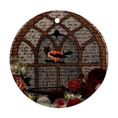 Vintage Bird In The Cage Ornament (round) by Valentinaart