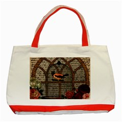 Vintage Bird In The Cage Classic Tote Bag (red) by Valentinaart