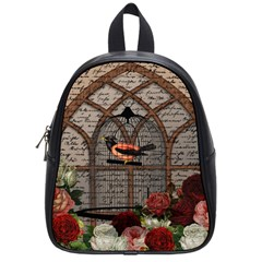 Vintage Bird In The Cage School Bags (small)  by Valentinaart